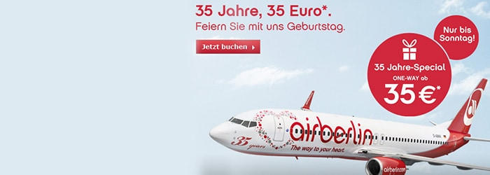 35 Jahre-Special bei Airberlin – z.B.: Rom, Paris, Venedig, Mallorca, Wien ab 70€!