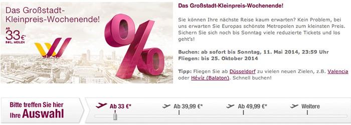 Germanwings-Sale: Viele reduzierte Tickets ab 33€ pro Strecke!