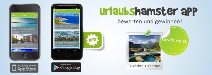 Die neue Urlaubshamster App für iOS & Android mit Urlaubsalarm ist da! Bewerte die App und gewinne 3 Nächte Erholung im Aqua Dome!