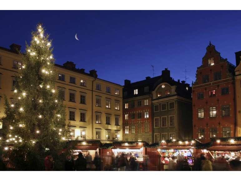 Weihnachtsmarkt Stockholm Abend