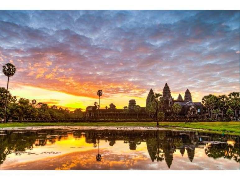 Kambodscha Urlaub Sonnenuntergang